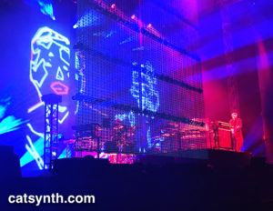 Jarre on keytar, musicians on vocoder