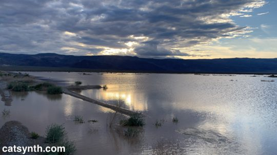 Sunset in the Panamint Valley after flash floods.