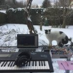 Basti with Korg 01/W, SQ-1, and Dreabox in the snow